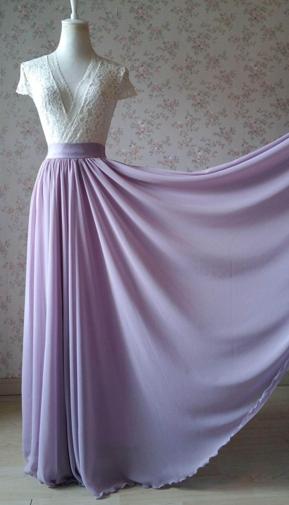 Vrouwen hoge taille maxi chiffon rok zomer bruiloft bruidsmeisje chiffon rokken plus size