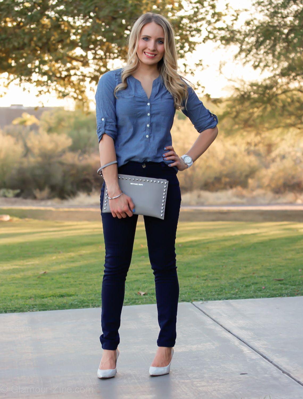 dc13deefa1 Blue on Blue    Denim Shirt and Michael Kors Studded Clutch - Glamour-Zine