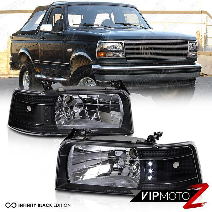 For 92 96 Ford F150 Bronco Black Led Drl 1pc Upper Headlight Corner Side Marker Ebay Bronco Ford Bronco Classic Car Insurance