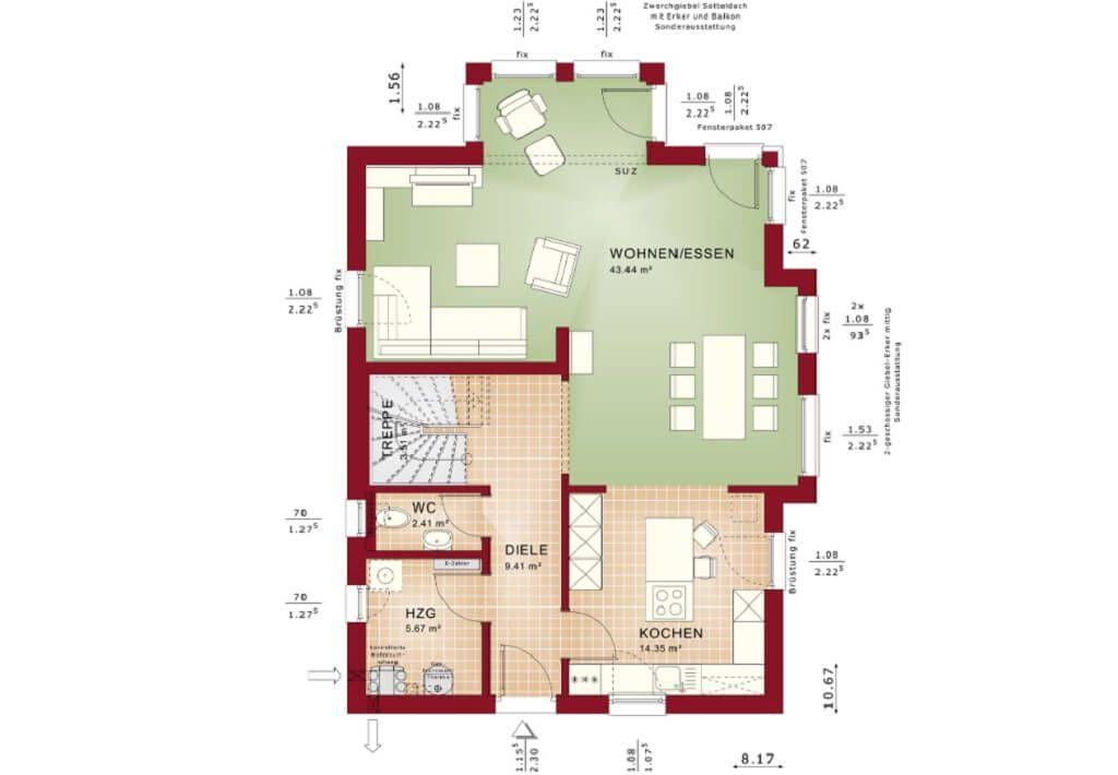Haus Grundriss EG mit offener Küche - Fertighaus Celebration 137 - grundriss küche mit kochinsel