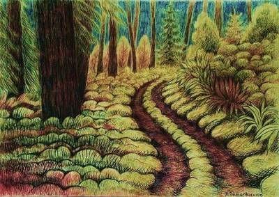 Bardzo ładny rysunek lasu w bajkowym stylu