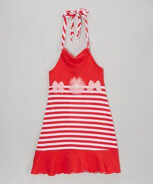 Look what I found on #zulily! Kash Ten Red & Pink Stripe Halter Dress - Toddler & Girls by Kash Ten #zulilyfinds