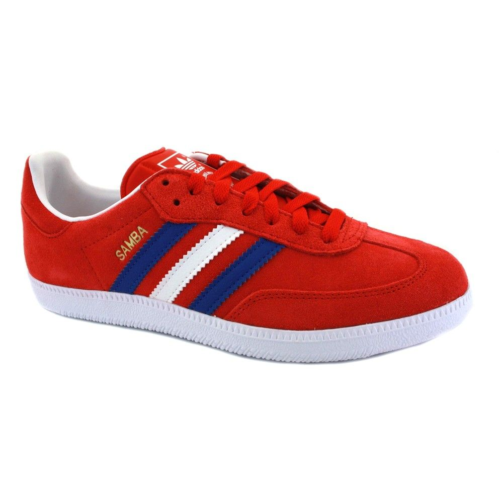adidas samba di velluto rosso - bianco - blu formatori vulcanizzata mens