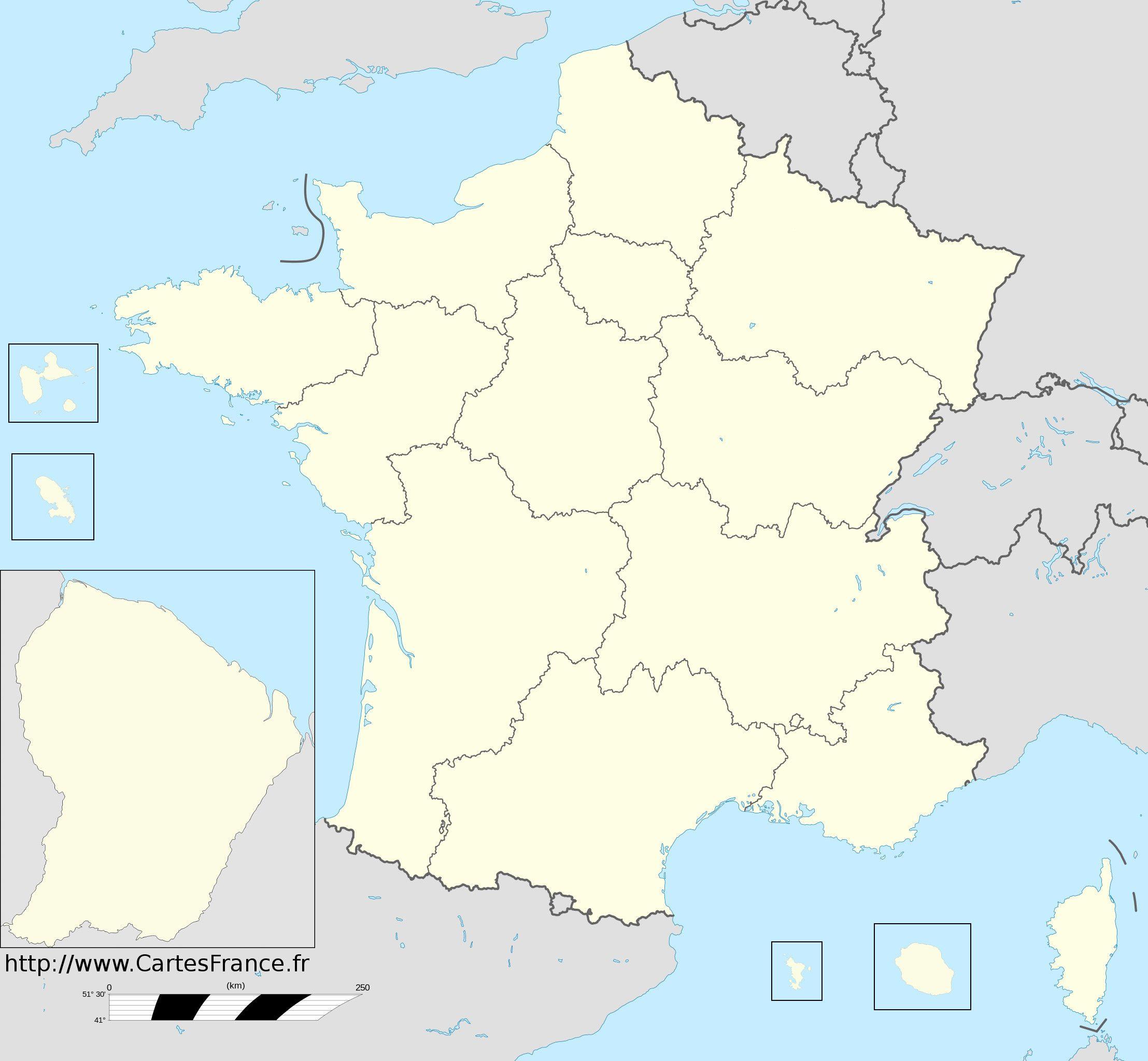 carte de france vierge Fond de carte des nouvelles régions de France : cliquer sur l