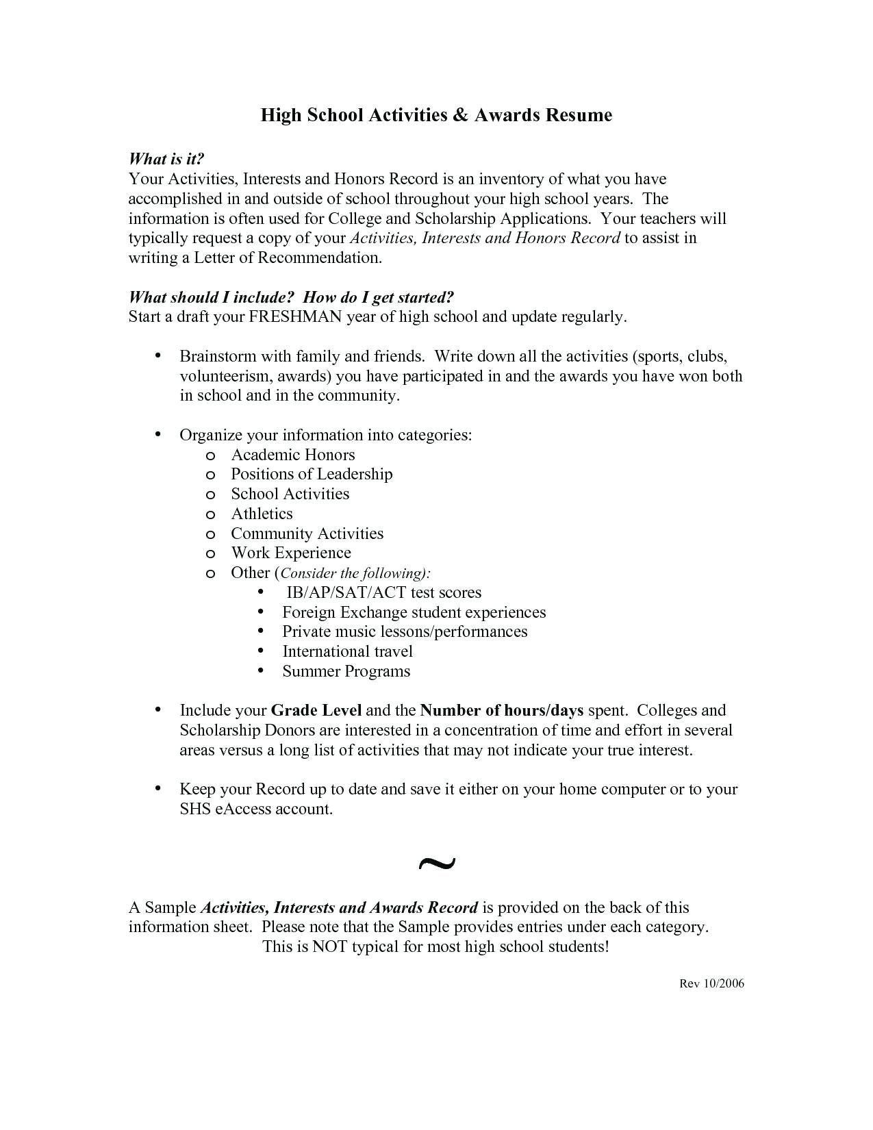 Interests On A Resume Sample College Student Resumes Best Sample