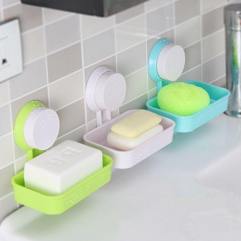 New Home Bathroom Shower Soap Box Racks Holder Sucker Style Kitchen Soap Dish Soap Holder Soap Soap Boxes