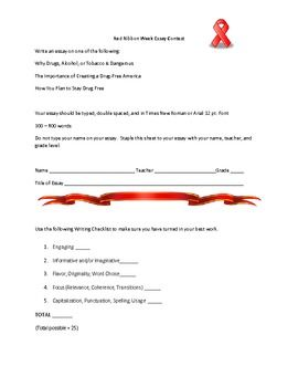 Red Ribbon Week Essay Contest Entry Form Free  Have An Essay