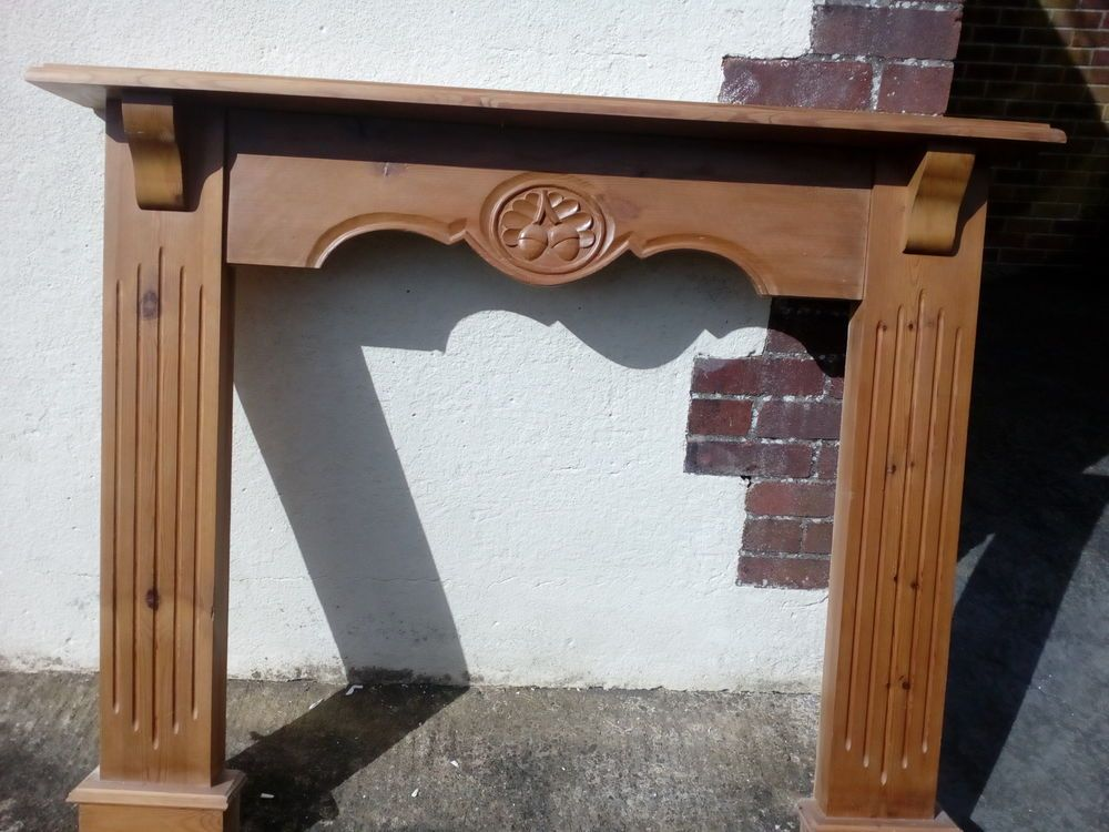 Wood fire surround, acorn carving ( may be oak ). With a little TLC will come up a treat. | eBay!