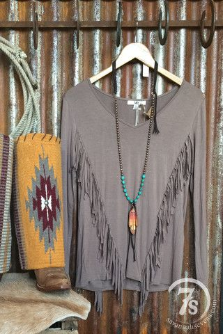 The Oskaloosa – taupe fringe top from Savannah Sevens Western Chic