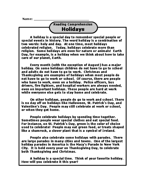 Holidays - Reading Comprehension | Reading comprehension ...