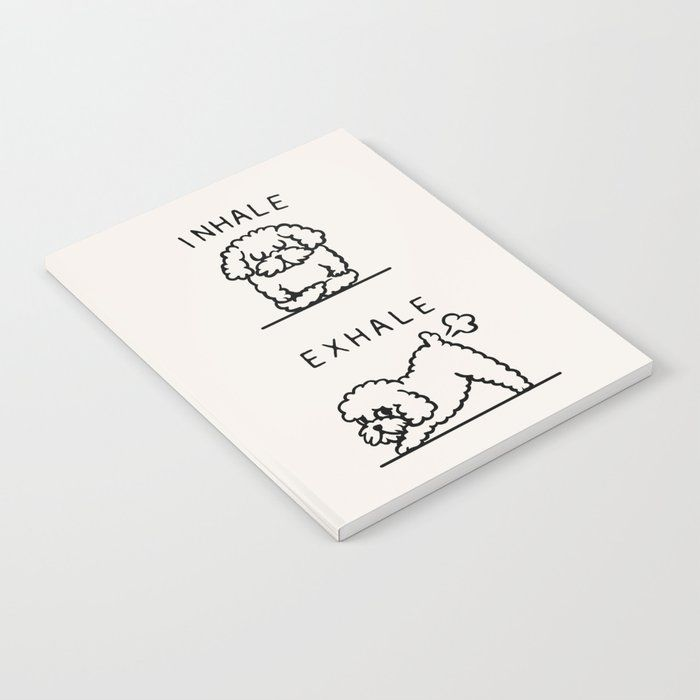 "Inhale Exhale Toy Poodle Notebook by Huebucket - 6"" x 8"" Lined"
