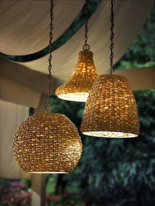 Durrant 1 Light Wicker Outdoor Pendant Outdoor Hanging Lights Outdoor Pendant Outdoor Pendant Lighting Plug in outdoor hanging light
