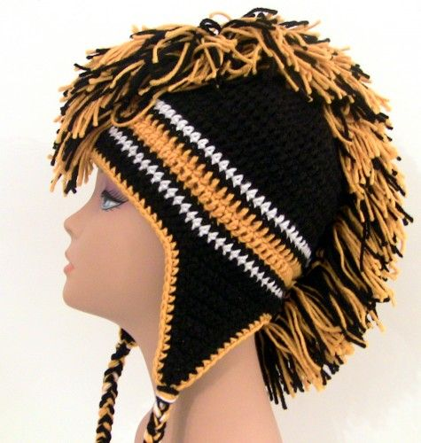 Mohawk Hat - Black and Yellow Gold - Crochet - Custom Made to Order ...