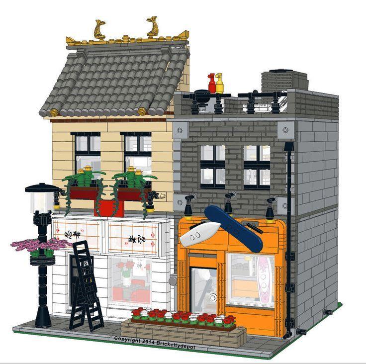 Lego Custom Modular Building -Japanese Restaurant & Board Shop ...