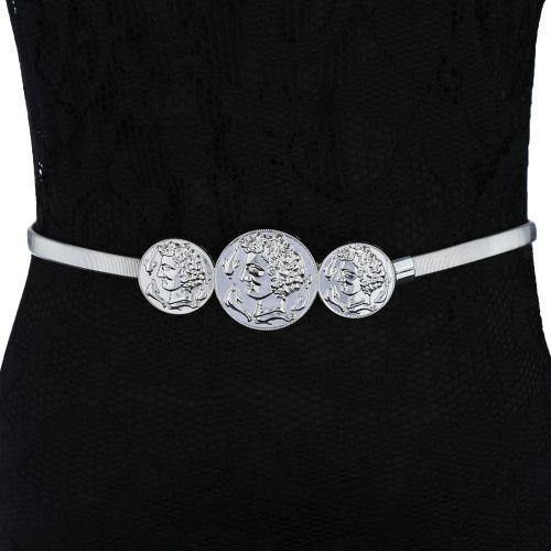 New Fashion Women Metal Stretch Belt Human Head Dolphin Vintage Slinky  Skinny Belt Gold Silver 9b5a535a483