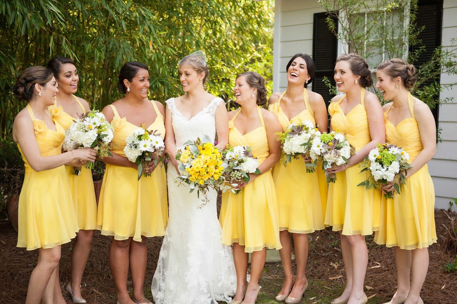 The bridesmaids wearig landa designs 39 style mf503 in the for Sunflower dresses for wedding