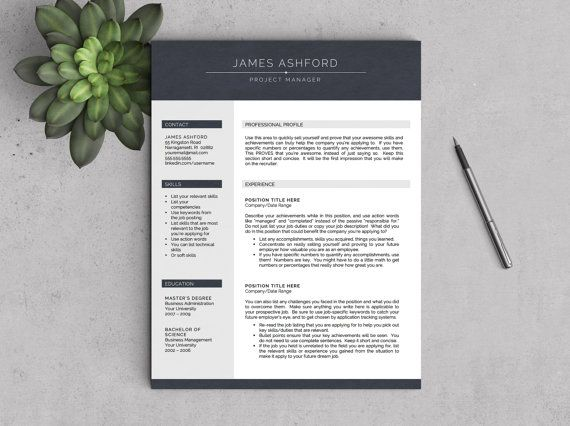 Modern Resume Template for Word 1-2 Page by LandedDesignStudio - 2 page resume
