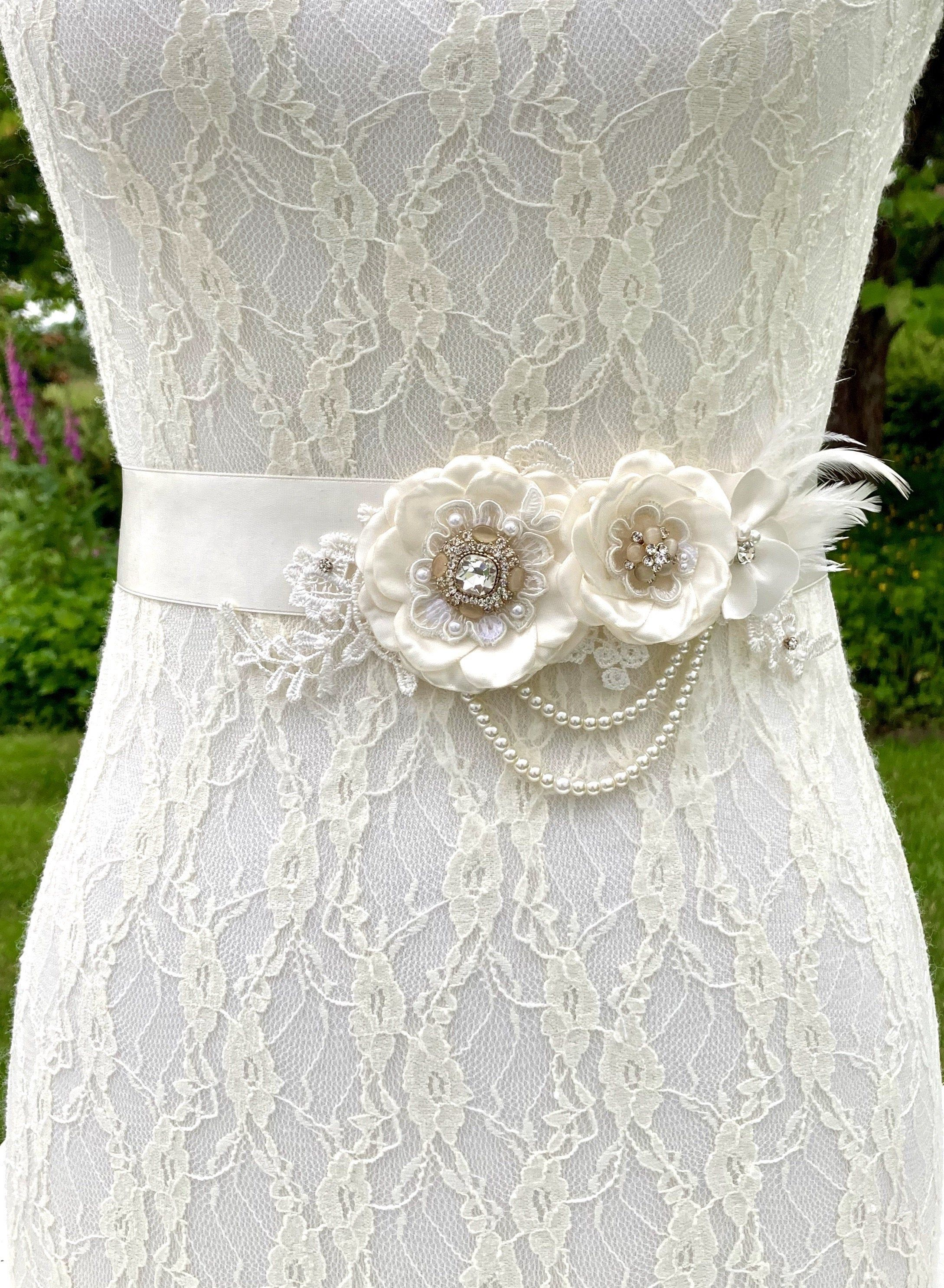Ivory Wedding Dress Sash Belt Beige And Ivory Floral Bridal In 2020 Floral Bridal Sash Wedding Dress Sash Belt Wedding Dress Sash