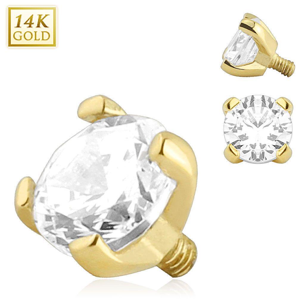 Body Piercing Jewelry 32050 14K Solid Gold Clear Gem Dermal Anchor