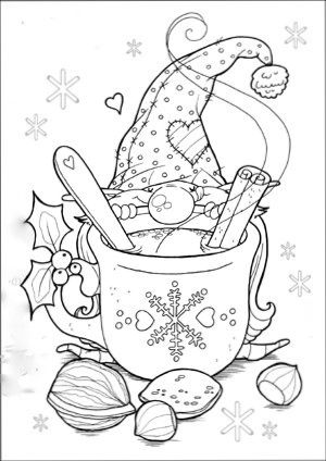 Christmas Gnome Clipart Black And White.Christmas Gnome Coloring Page Arts Crafts And Diy
