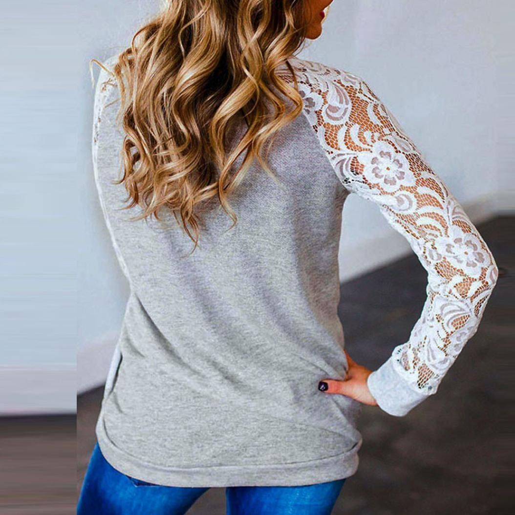 c49d63674 Seaintheson 2018 Women Fashion Long Sleeve Floral Splicing Casual ONeck TShirt  Blouse Tops     Visit the image link more details.