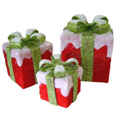 """Sisal LED Gift Boxes Set of 3 10"""" X 10"""" x 12"""" Material: Sisal Red Snow Capped Boxes with Green Bow Set of 3 Set includes one of each; electrical cords connect."""