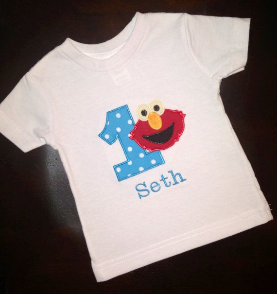 01062ce3 Custom made Elmo first 1st birthday shirt/onesie bodysuit boy or girl on  Etsy, $25.00