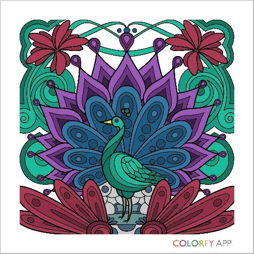 Peacock Coloring apps, Animal paintings, Coloring books