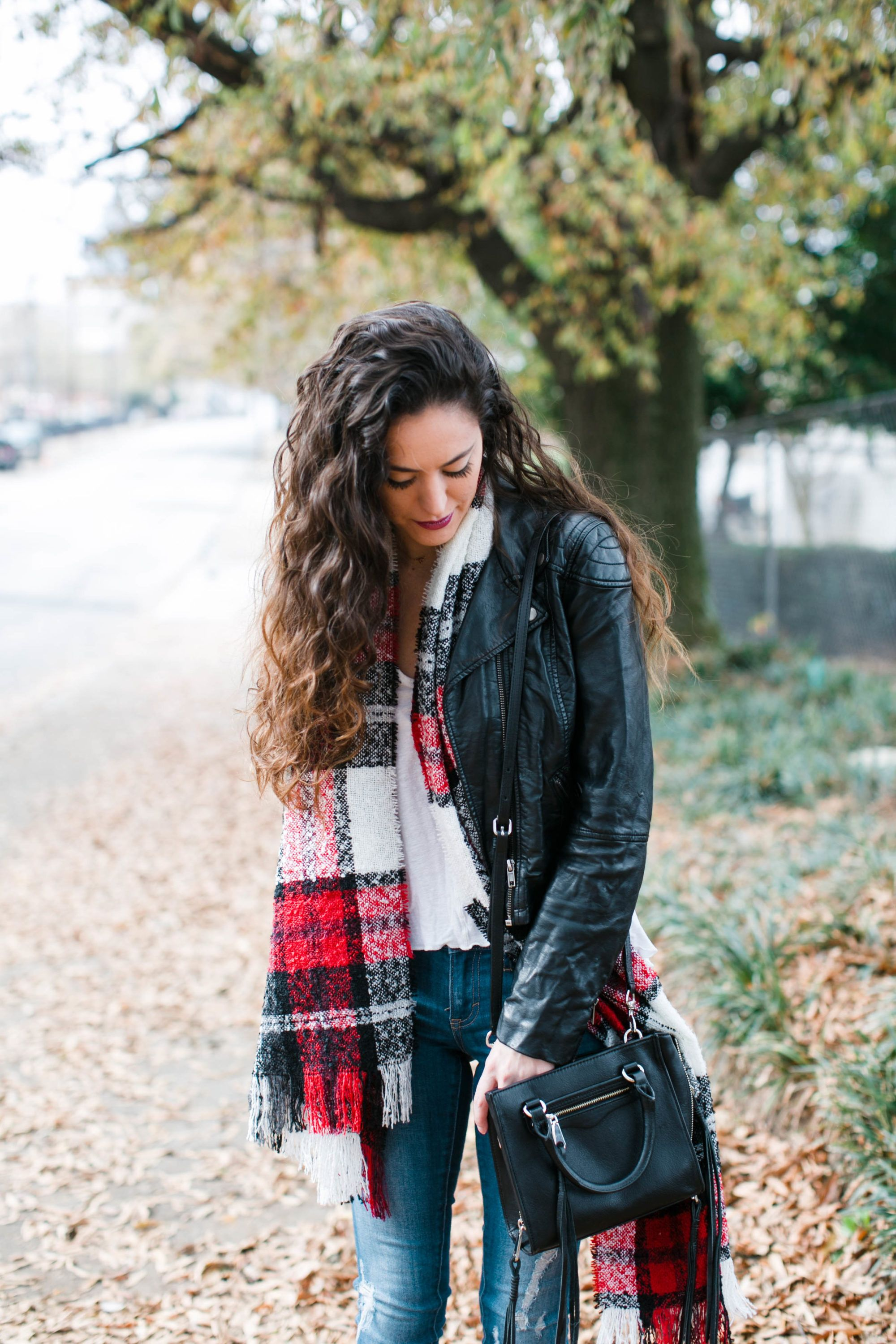 casual fall style, how to wear a plaid scarf, how to wear a leather jacket, fall to winter casual style, what to wear in December, getting in the holiday spirit, atlanta style blogger