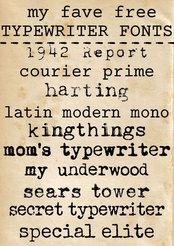 free typewriter fonts - for personal or commercial use ...