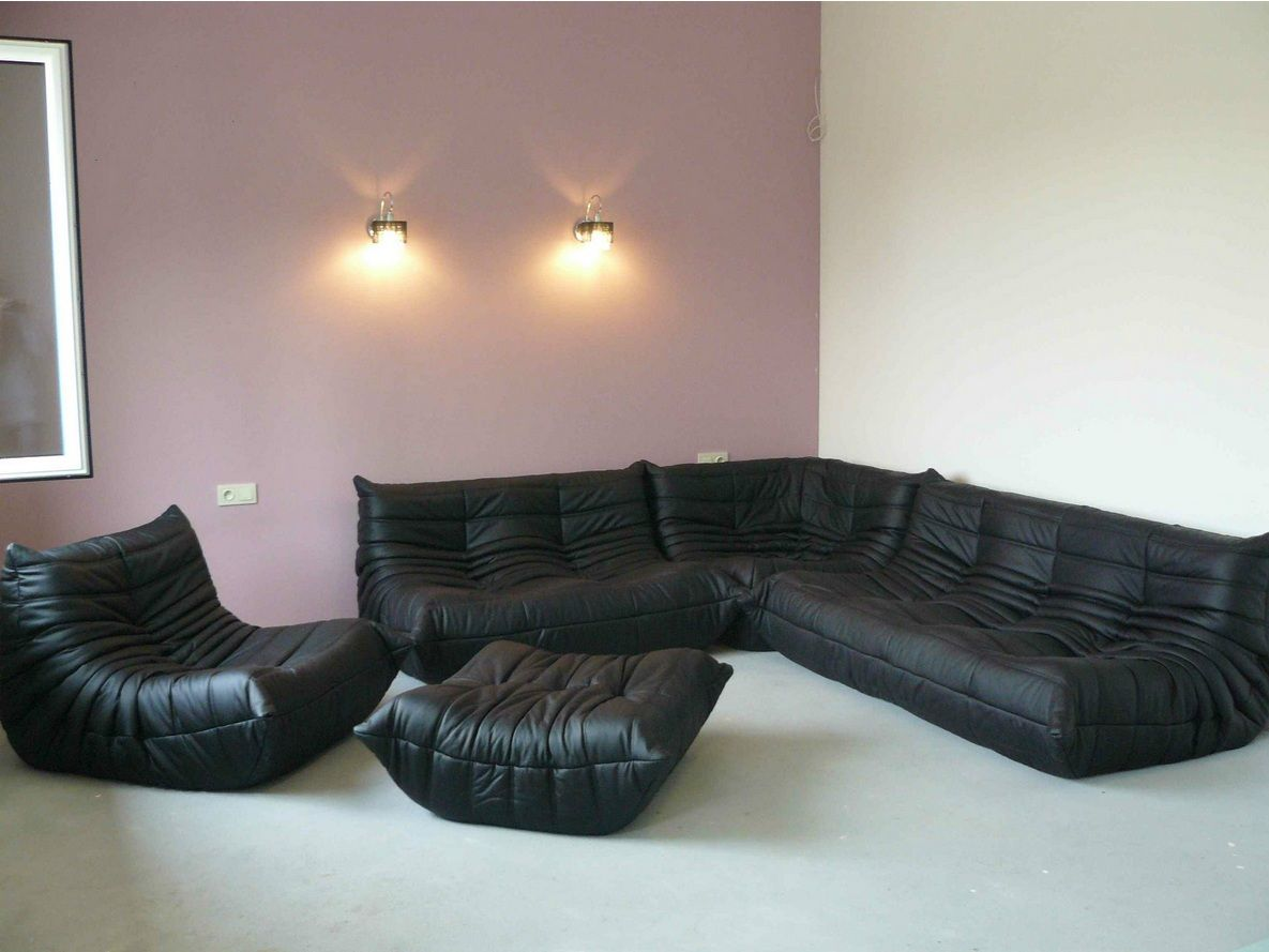 michel ducaroy canape togo sofa set cuir noir black. Black Bedroom Furniture Sets. Home Design Ideas