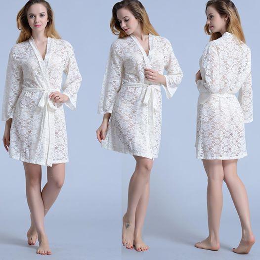 Photo: http://www.softamor.com/ White lace kimono robes, bridal robes!