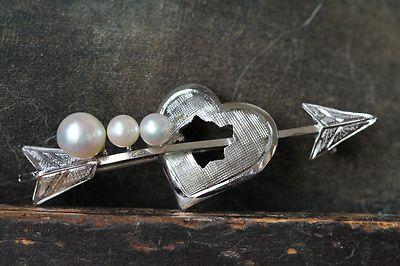 Vintage Rhodium Plated Sterling Silver Genuine Pearl Arrow Through Heart Pin   eBay
