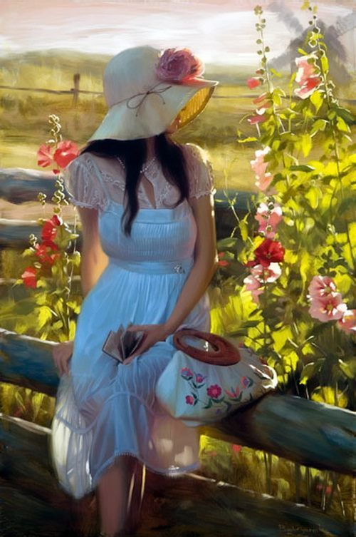 25 Beautiful Oil Paintings by Andrei Belichenko - Woman, Garden and Dreams. Follow us www.pinterest.com/webneel