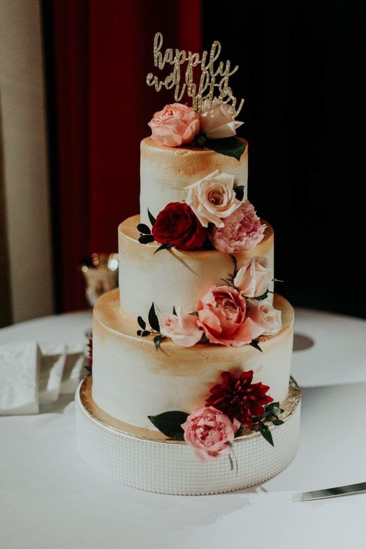 Floral And Gold Wedding Cake Pensacola Florida Kates Cakes