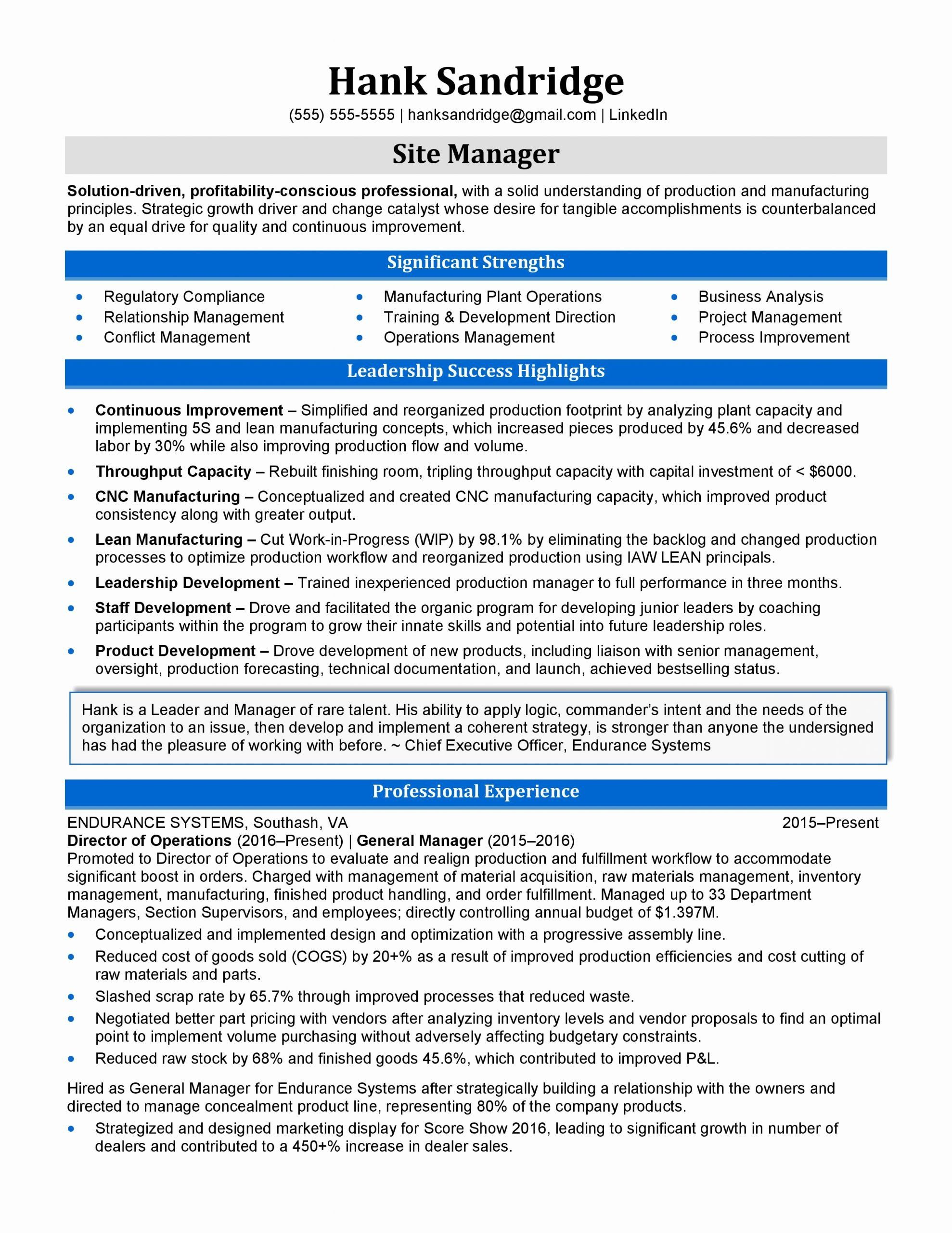 Director of operations resume examples fresh resume