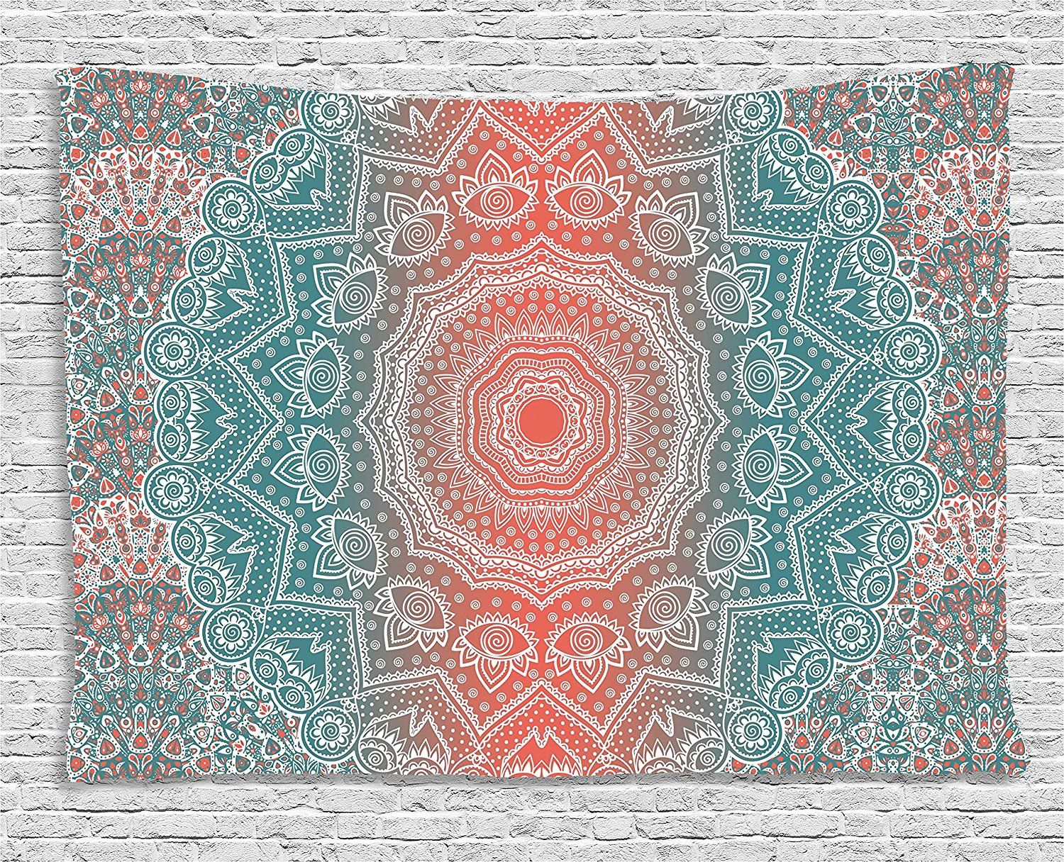 amazon coral and teal tapestry by ambesonne modern tribal
