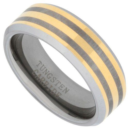 8mm Tungsten Carbide Wedding Ring Brushed Two Tone Gold Comfort Fit Band Beveled Edge Size 9 Heirloom Finds http://www.amazon.com/dp/B008FC6SOM/ref=cm_sw_r_pi_dp_WFUStb1BB7Z5N1MJ