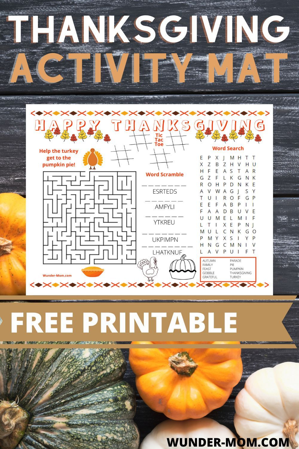 Printable Thanksgiving Activity Mat For Kids In 2020 Thanksgiving Activities Thanksgiving Fun Autumn Activities For Kids