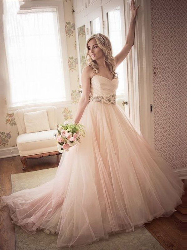 Strapless Pink Long Tulle Wedding Dress