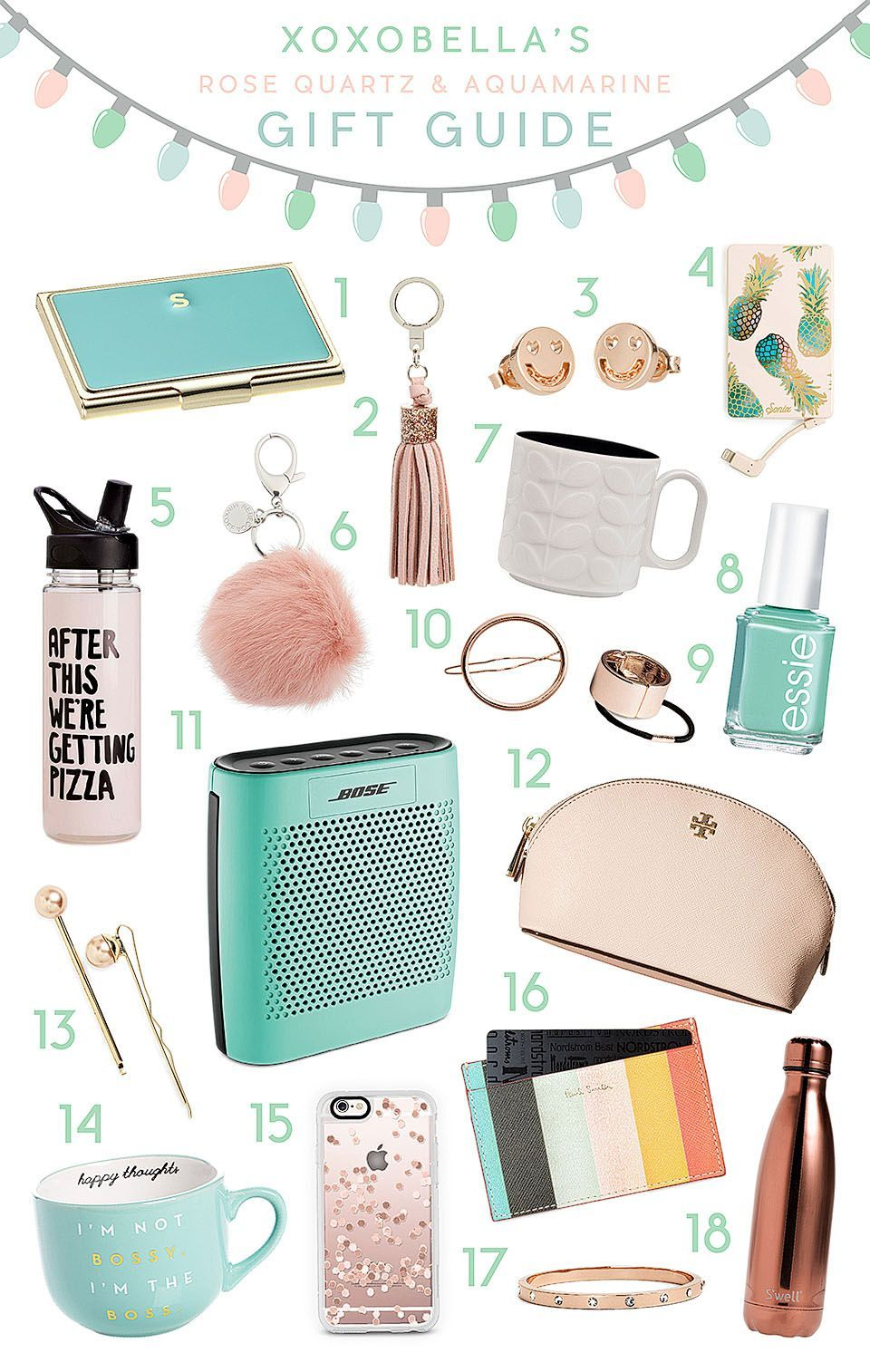 Blogger Bella Bucchiotti Of XoxoBella Shares A Holiday Gift Guide Featuring Her Favourite Rose Gold And Aqua Items For Your Best Friend Or Girls