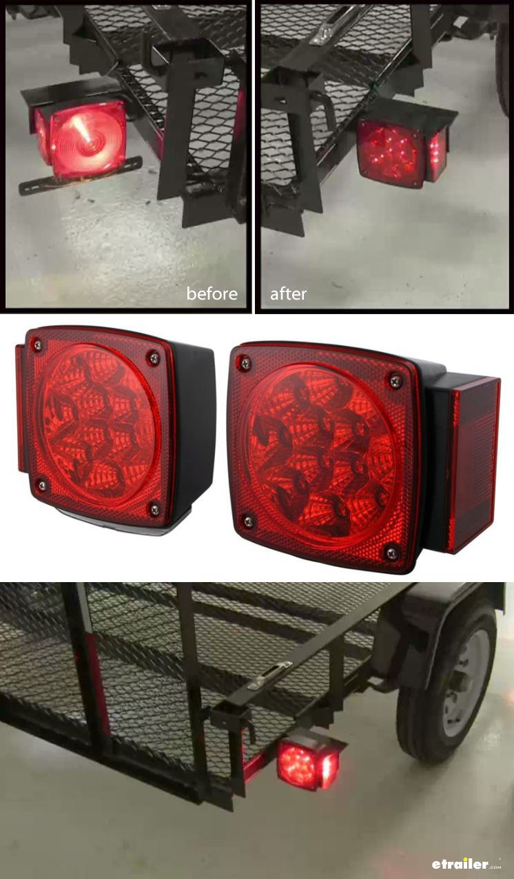 Miro-Flex LED Trailer Tail Lights - Submersible - 38 Diodes - Square ...
