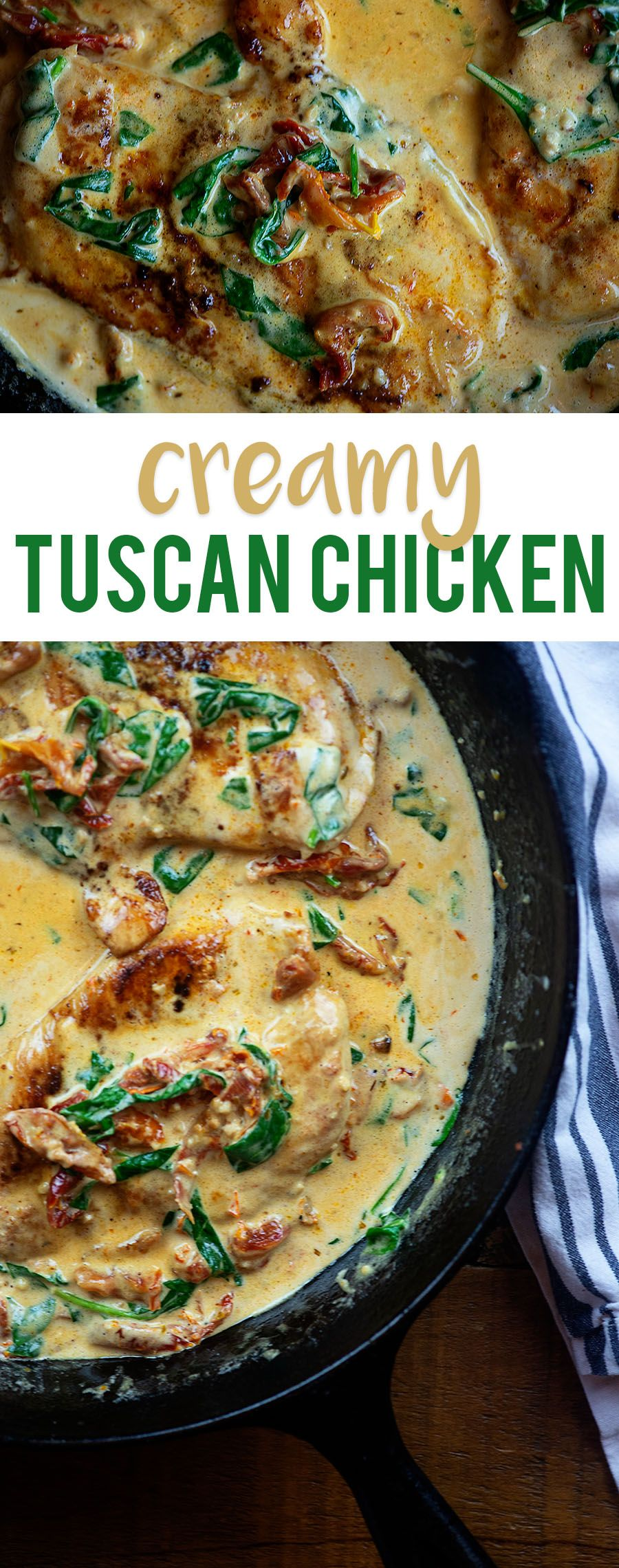 Creamy Tuscan Chicken! Low carb chicken in a creamy sauce with sun-dried tomatoes and spinach!
