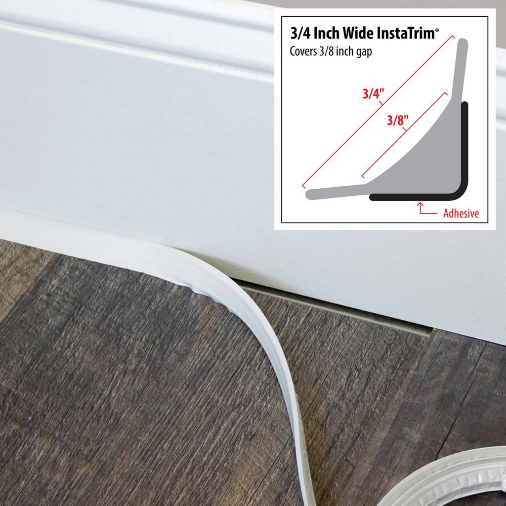 Instatrim 3 4 In X 1 2 In X 120 In White Pvc Inside Corner Self Adhesive Flexible Trim Molding It75inwht The Home Depot In 2020 Baseboard Trim Home Diy Home Upgrades