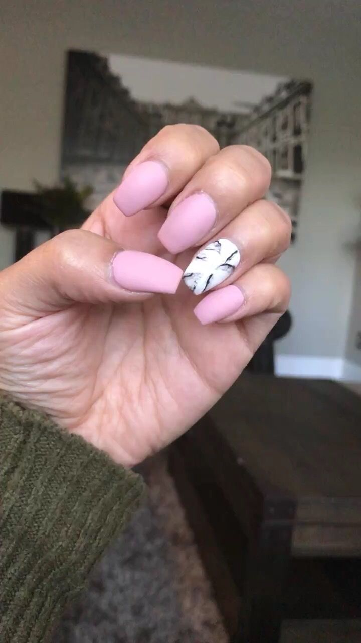 Matte pink with white and black marble nails | My nails ...