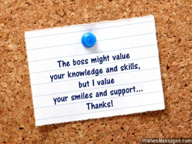 Thank you notes for colleagues quotes and messages messages thank you note for colleagues boss values skill support for me expocarfo Images