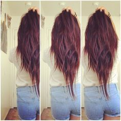 Image Result For V Shaped Layers With Separated Bangs Long Hair Styles Hair Styles Long Layered Hair