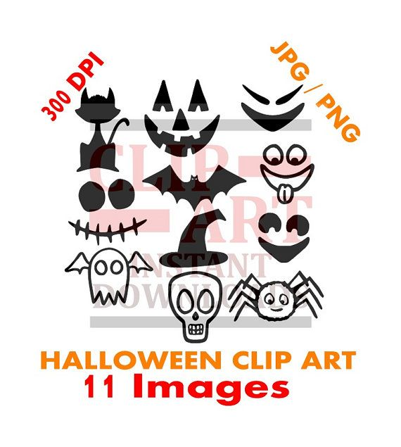 Set of 11 plain black Halloween clip art Black by DavesDigitalArt