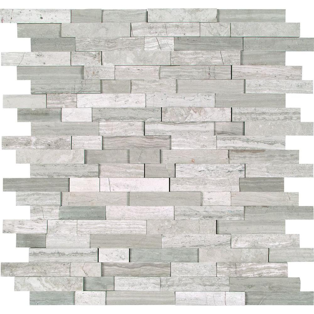 Fireplace Surround MS International White Quarry Splitface 12 In X 10 Mm Marble Mesh Mounted Mosaic