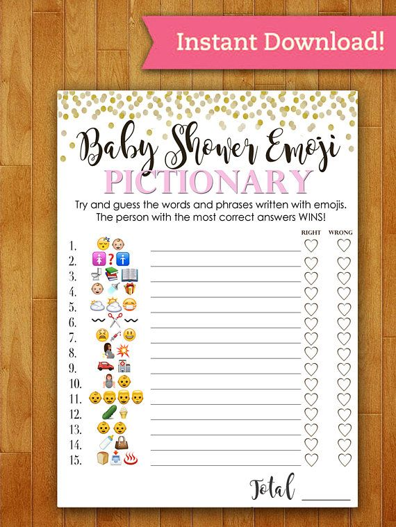 Baby Shower Game Pictionary - EMOJI Pictionary - Coral ...